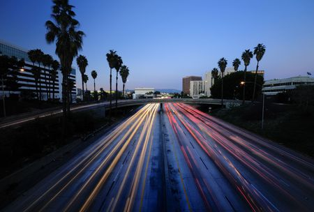 Los Angeles Highway at dusk Stock Photo