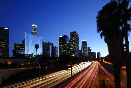 Los Angeles downtown skyline at night photo