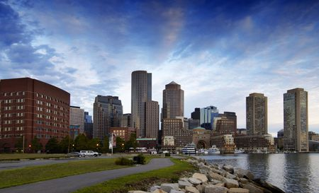 Boston skyline at dawn Stok Fotoğraf