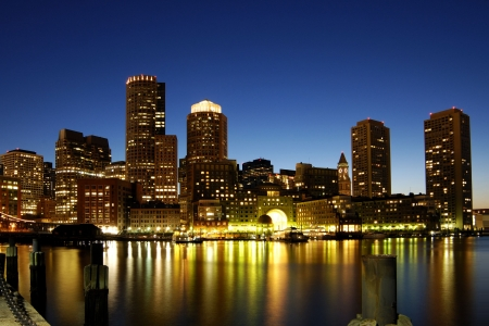 Boston skyline at night 스톡 콘텐츠