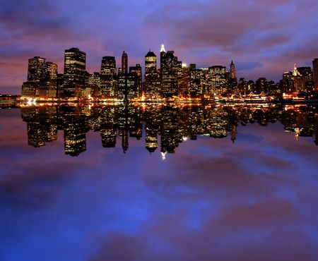 New York City skyline at night (two images merged) Stock Photo - 2840301