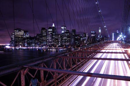 overlook: Brooklyn Bridge overlook at Manhattan downtown skyline