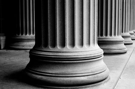 close-up of classic columns in black and white photo