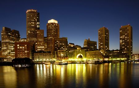 ports: Boston skyline at night Stock Photo