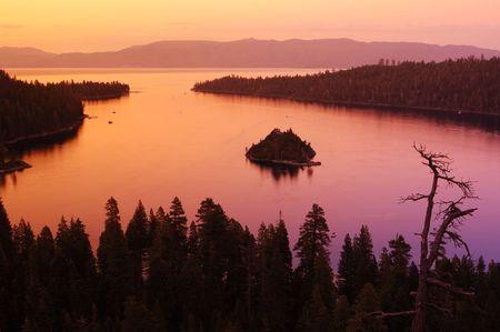 Lake Tahoe Emerald bay at dusk photo