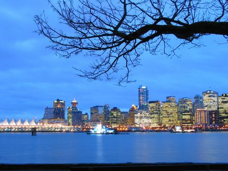 port stanley: vancouver skyline at night Stock Photo