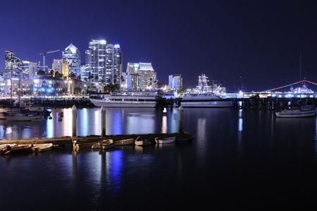 diego: San Diego skyline at a clear night Stock Photo