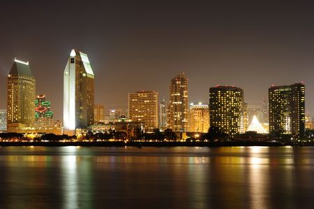 marina life: San Diego skyline at night with holiday lights