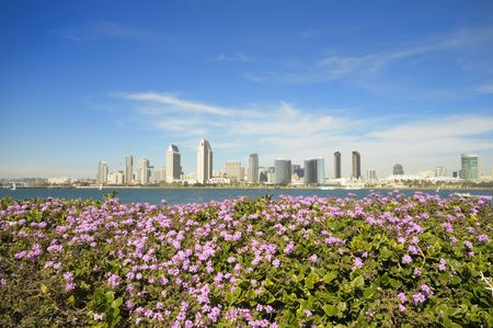 San Diego downtown skyline in a sunny spring day