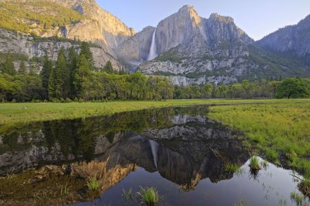Reflection of Upper Yosemite Fall in spring Stok Fotoğraf