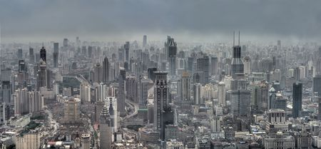 smog: Panoramic view of Modern Shanghai, China (Bird-eyed view)