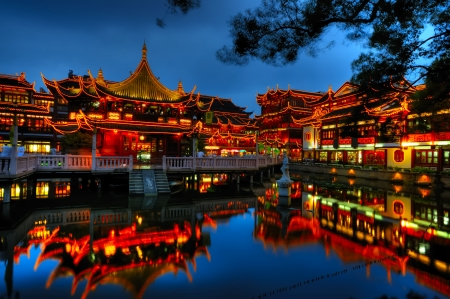Beautifully lighted buildings at Shanghai old town Stok Fotoğraf