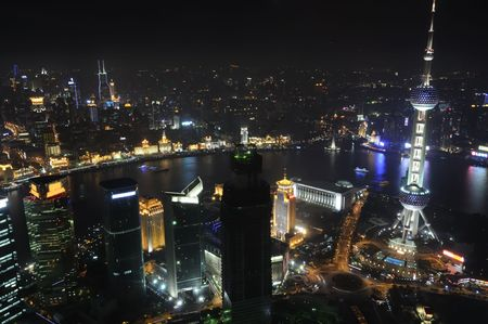 Birds eye view of Shanghai city at night Stok Fotoğraf