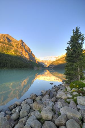Glacier reflection on Lake Louise in the early morning light
