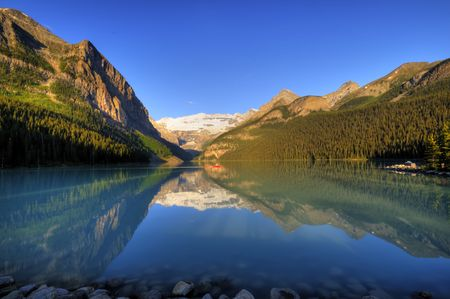 Classic view of world famous Lake Louise, Canada Stok Fotoğraf