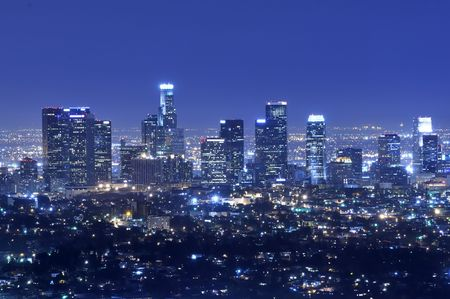 Panoramic view of Los Angeles city skyline at night photo