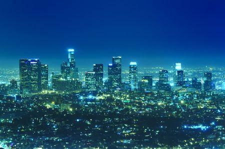 angeles: Panoramic view of Los Angeles city skyline at night Stock Photo