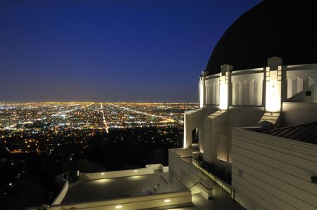 angeles: Panoramic view of Los Angeles city lights Stock Photo