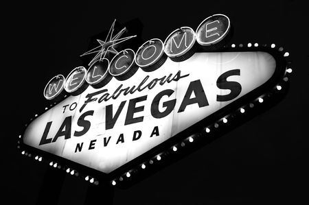 Las Vegas City Welcome sign in black and white