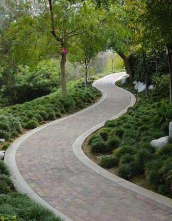 Japanese Garden with pavestone walkway photo