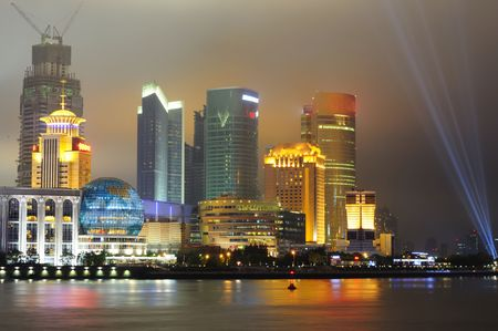 View of Shanghai Pudong Skyline at night