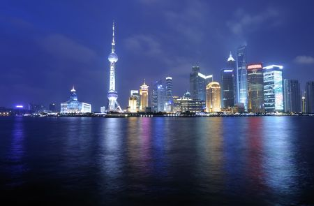 Panoramic View of Shanghai Pudong skyline at night