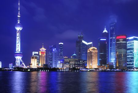 shanghai pudong skyline: View of Shanghai Pudong Skyline at night