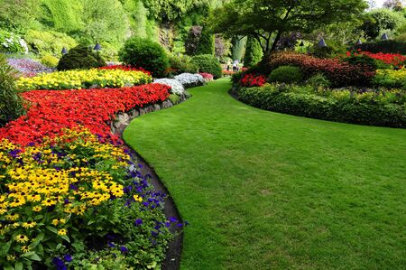 famous place: flower beds in formal garden  Stock Photo
