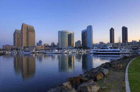 San Diego downtown marina and convention center in the morning