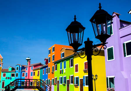 burano: Burano island canal, colorful houses and Long exposure photography