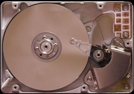 inside view of hard drive from computer photo