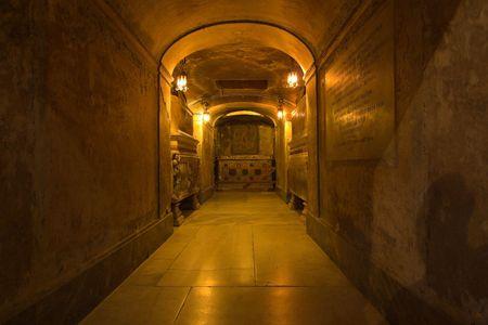 roman catholic: rome- inside view of santa prassende - undeground Stock Photo