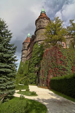 relict: different view of castle Ksiaz - Poland