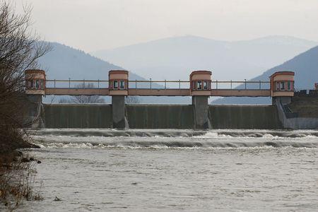 sola: view of waterdam at river Sola - Poland