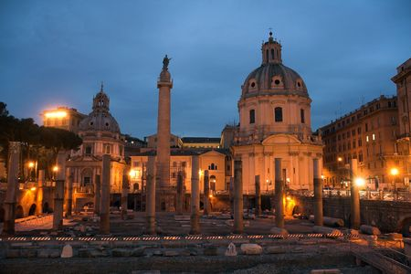 Forum of Trajan, Santissimo Nome di Maria and Santa Maria di Loreto Stock Photo - 3908975