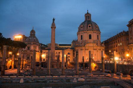 Forum of Trajan, Santissimo Nome di Maria and Santa Maria di Loreto Stock Photo - 3908975