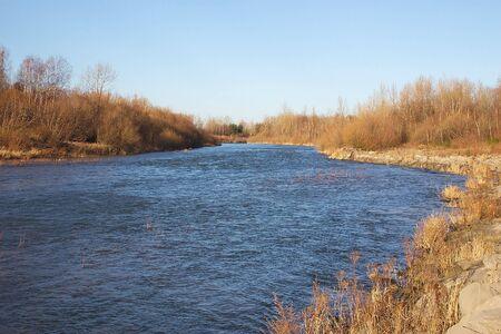 sola: river Sola near  waterdam Porabka - Poland