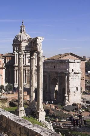 severus: Rome - view of forum romanum - Temple of Concord, Arch of Septimius Severus  Stock Photo