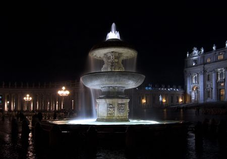 st  peter's square: Vatican - night`s view of St. Peters Square