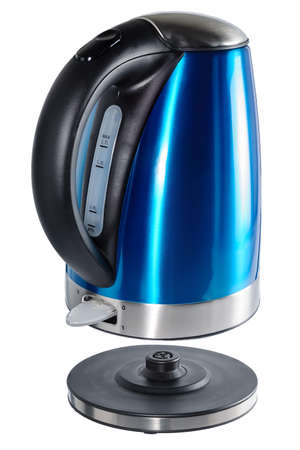 Inox painted in blue color isolated cordless electrical kettle with black plastic handle and inox elements on white backgraund. Stock Photo