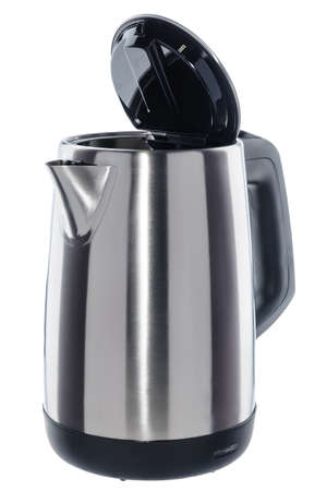 Stainless steel isolated cordless electrical kettle with black plastic handle  on white background