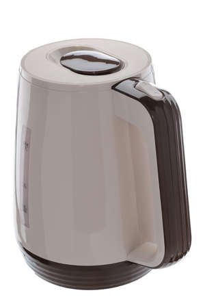 Beige color plastic isolated cordless electrical kettle with brown plastic elements on white background