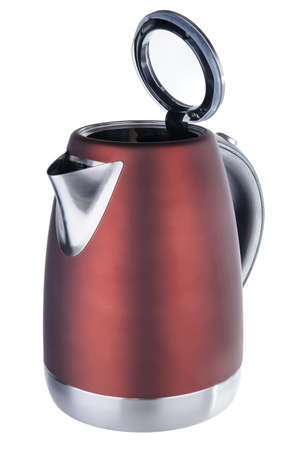 Stainless steel painted in red matt color isolated cordless electrical kettle with black plastic handle  on white background Stock Photo
