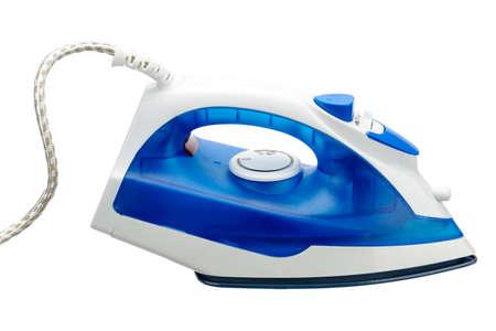 Elektrisches blaues und weißes Bügeleisen für isoliert auf weißem Hintergrund