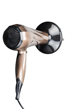 Brown electrical hand-held hair dryer for hair salon or barber shop isolated on the white background
