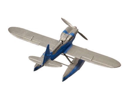 Blue painted plastic aquaplane isolated on the white background