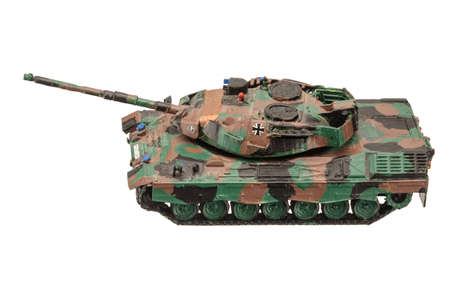 Germany plastic tank assembled painted by child isolated on the white background