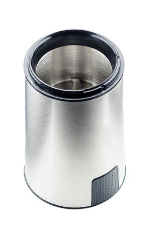 Black electrical coffee grinder without lid isolated on the white background Foto de archivo