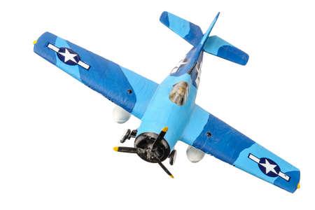 Blue american plastic plane isolated on the white background Foto de archivo