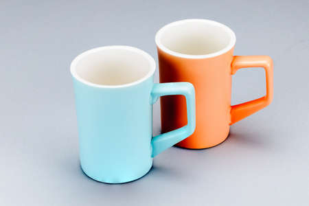 Two porcelain clay mug for coffee or tea on the white background